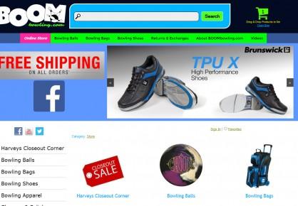 Boombowling.com web design by 6x6 Design, LLC