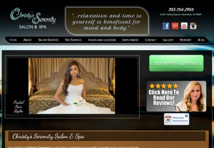 Christysserenity.com web design by 6x6 Design, LLC