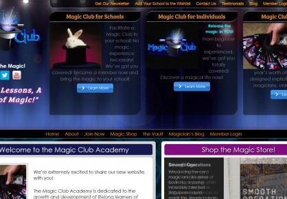 Magicclubacademy.com web design by 6x6 Design, LLC