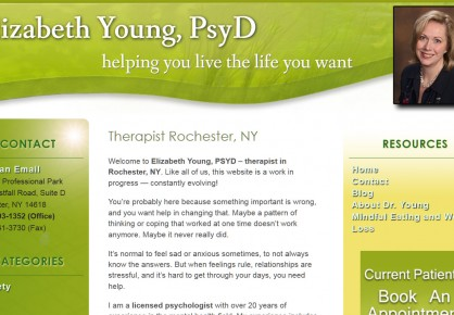 Therapistrochesterny.com web design by 6x6 Design, LLC
